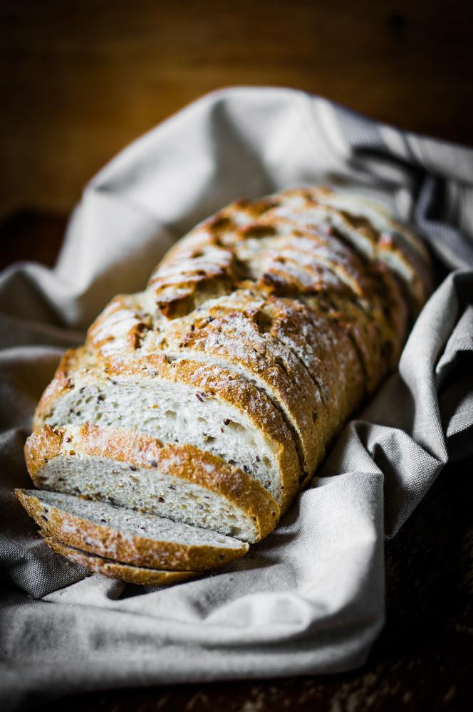 Whole Grain Bread On Rustic Background