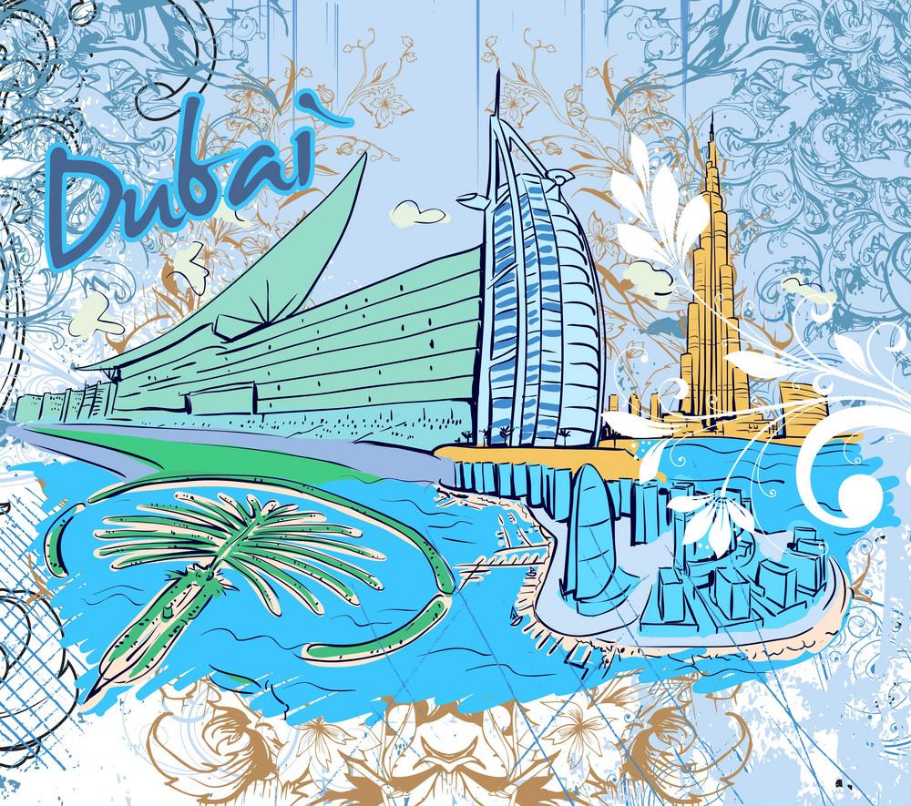 Dubai Doodles Vector Illustration