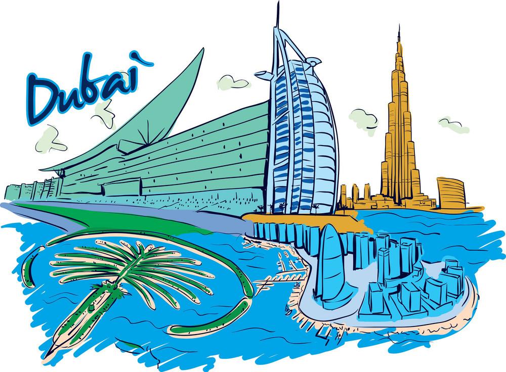 Dubai Vector Doodle