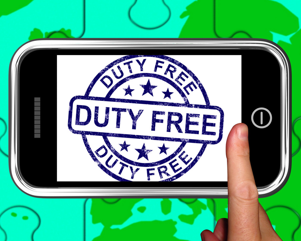 Duty Free On Smartphone Showing Tax Free Purchases