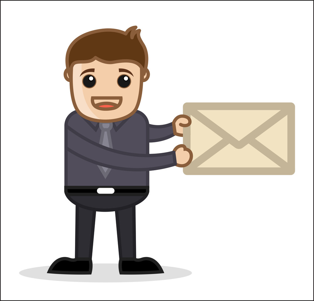 E-mail - Office And Business People Cartoon Character Vector Illustration Concept