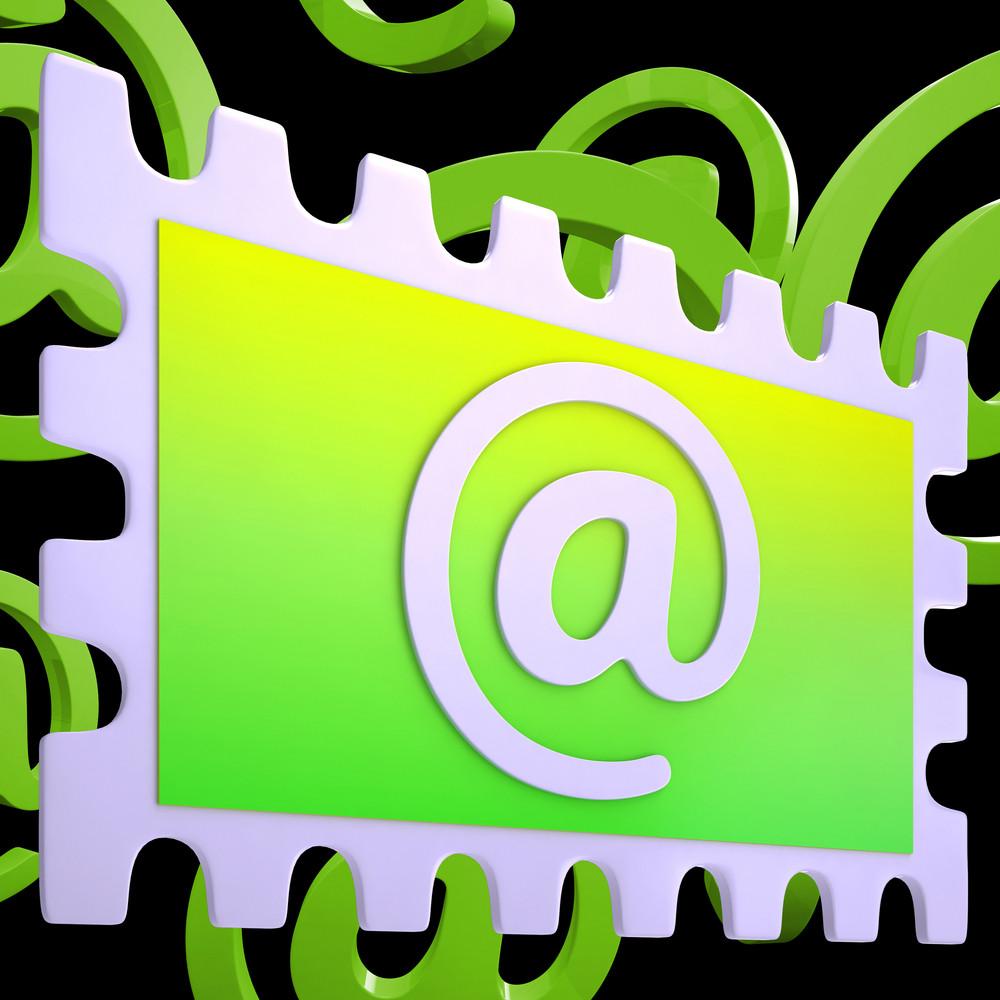 E-mail Stamp Shows Correspondence Mail Via Internet
