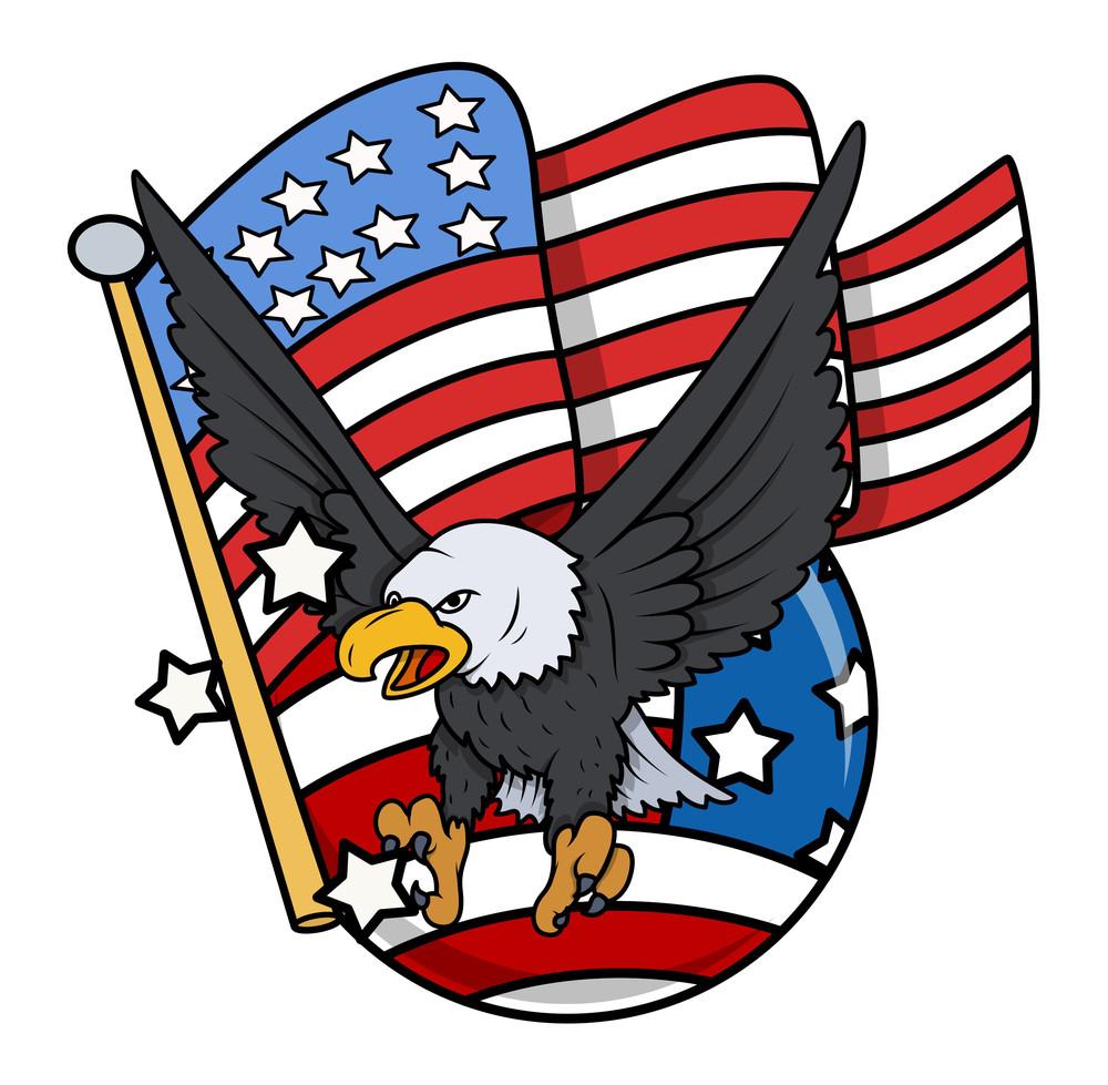 Eagle And Us Flag Celebration Patriotic Design