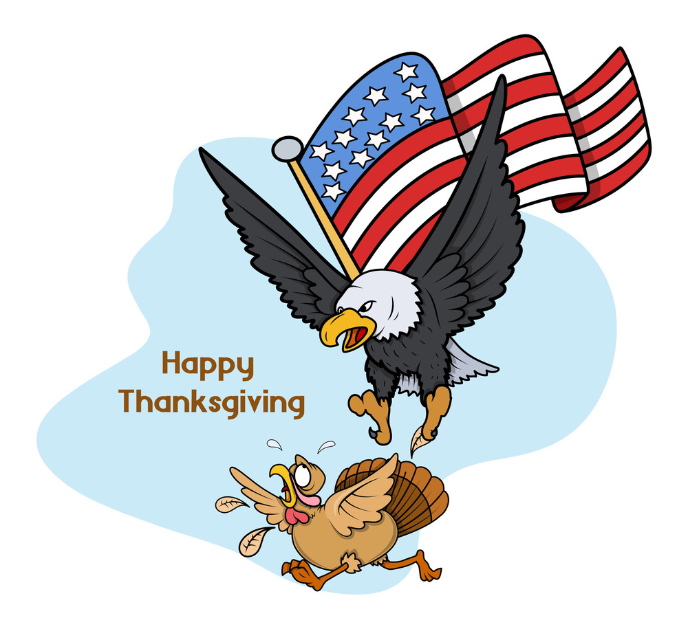 Eagle Hunting Turkey Bird With Usa Flag Vector