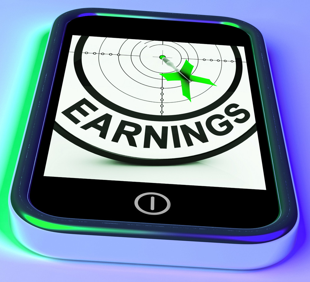 Earning On Smartphone Showing Profitable Incomes