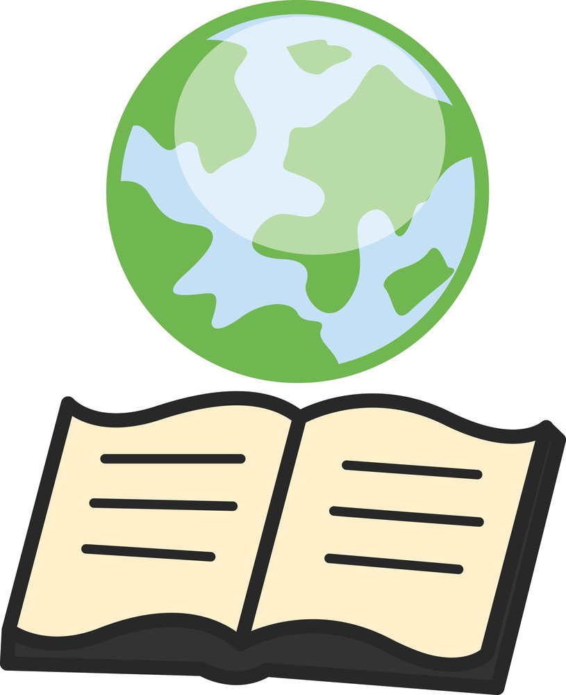Earth And Open Book - Geography Knowledge Concept - Office Character Vectors