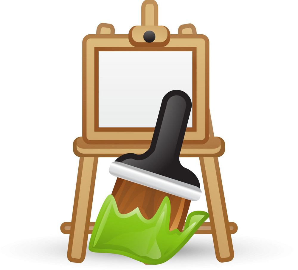 Easel And Paint Brush Lite Art Icon