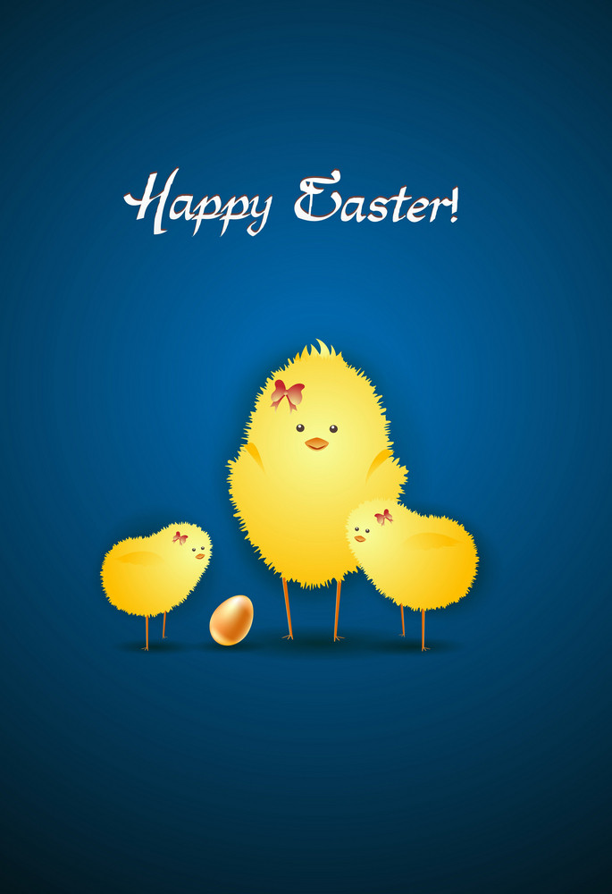 Easter Background With Birds Vector Illustration