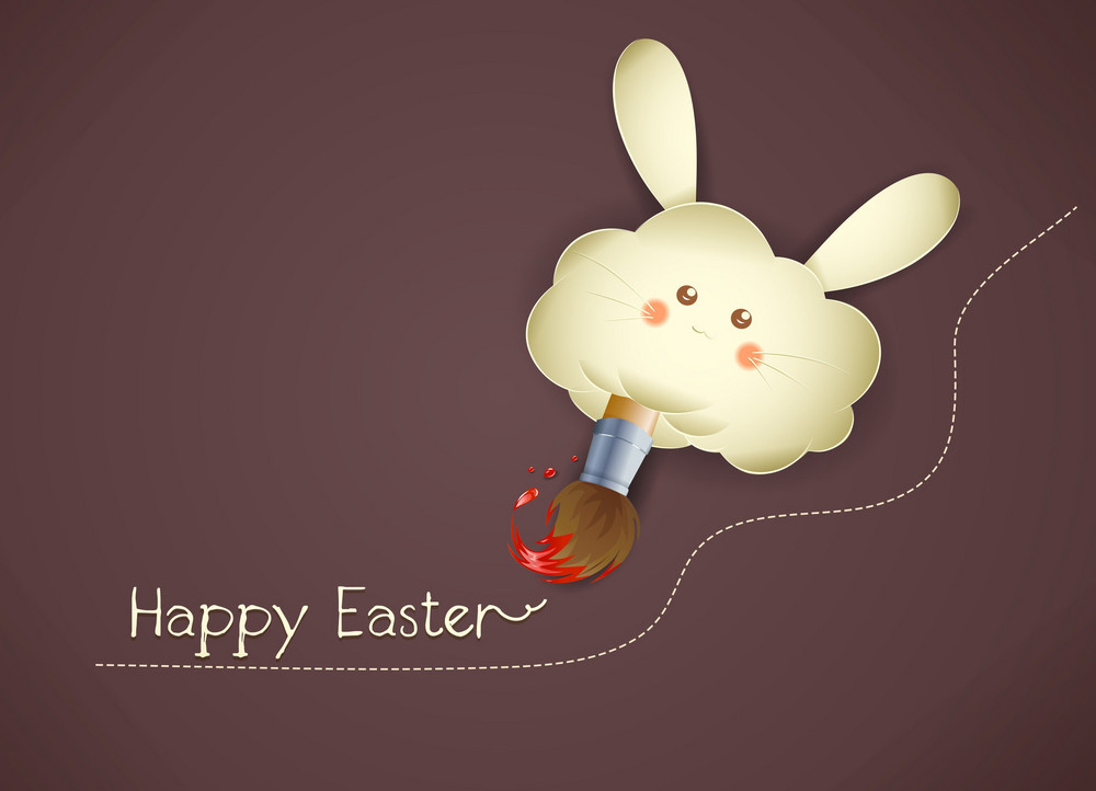 Easter Background With Bunny Face Vector Illustration