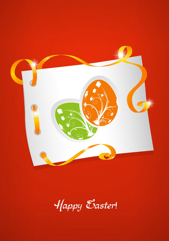 Easter Background With Eggs Face Vector Illustration