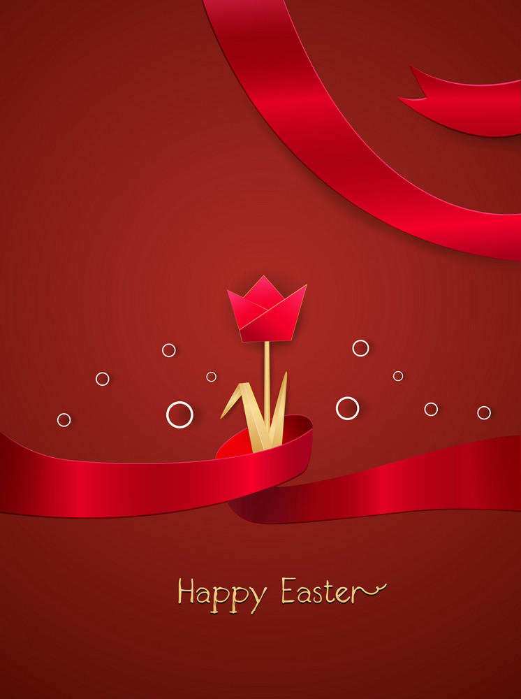 Easter Background With Flower Vector Illustration
