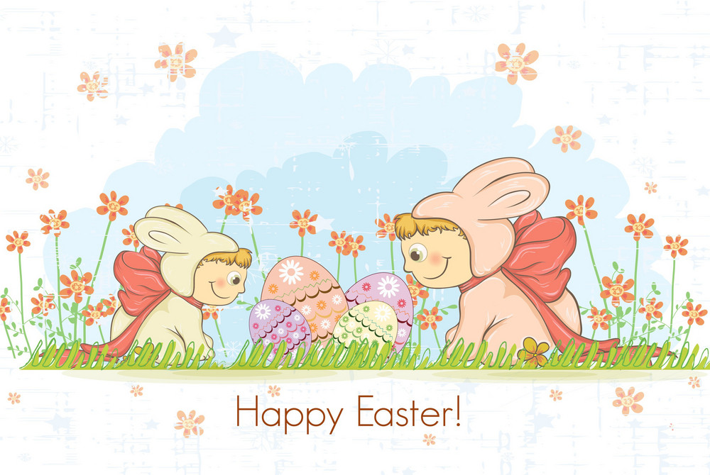 Easter Background With Kids In Bunny Costume Vector