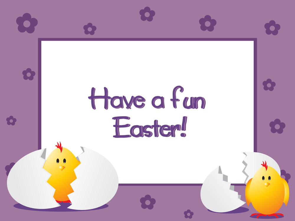 Easter Background With New Born Chicken
