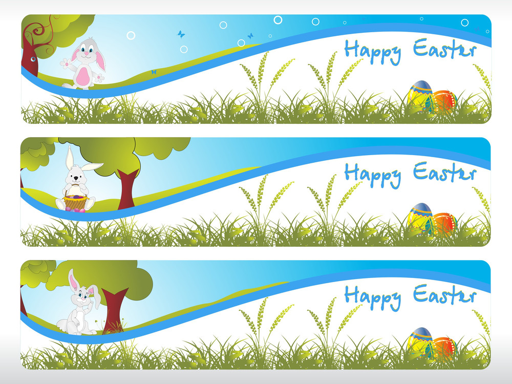 Easter Banner With Bnny Sit Under The Tree