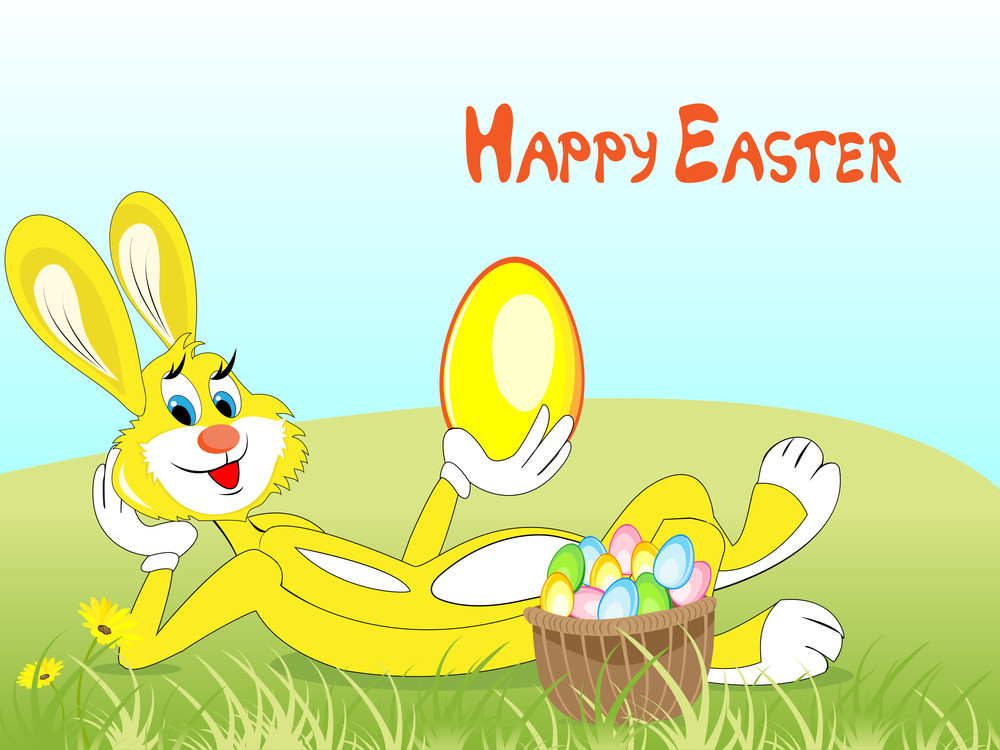 Easter Bunny With Wicker Basket Of Eggs