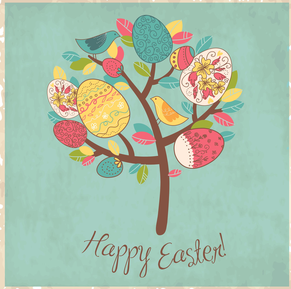Easter Card With Tree