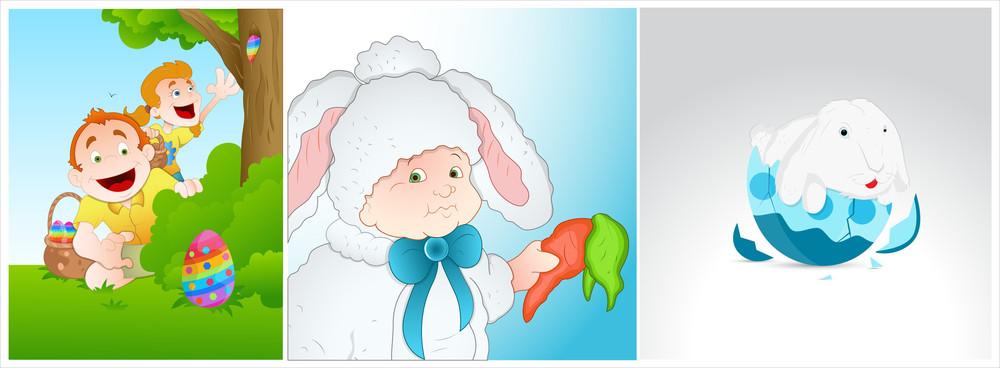 Easter Cartoon Characters Vectors