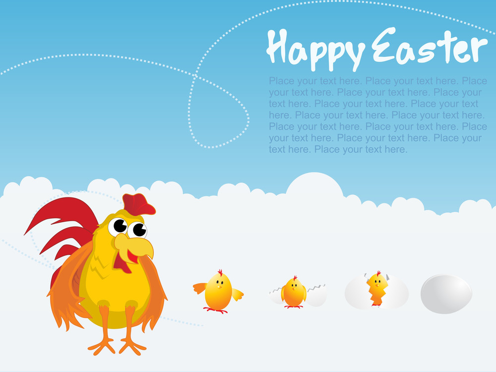 Easter Day Background With Cock