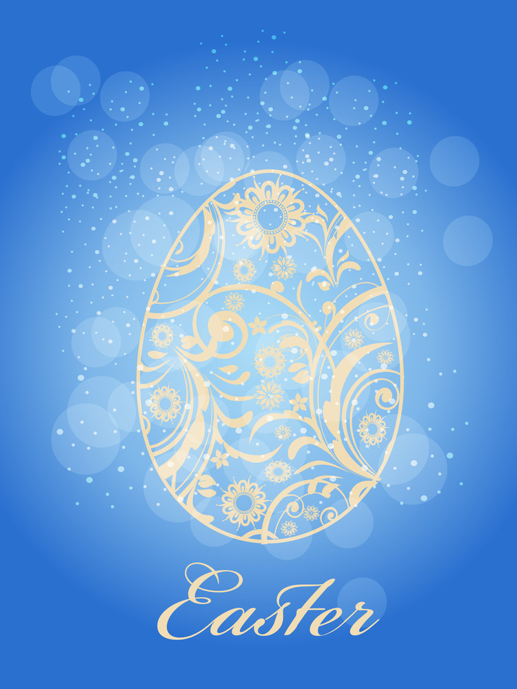 Easter Decorated Egg With Bokeh Effect.