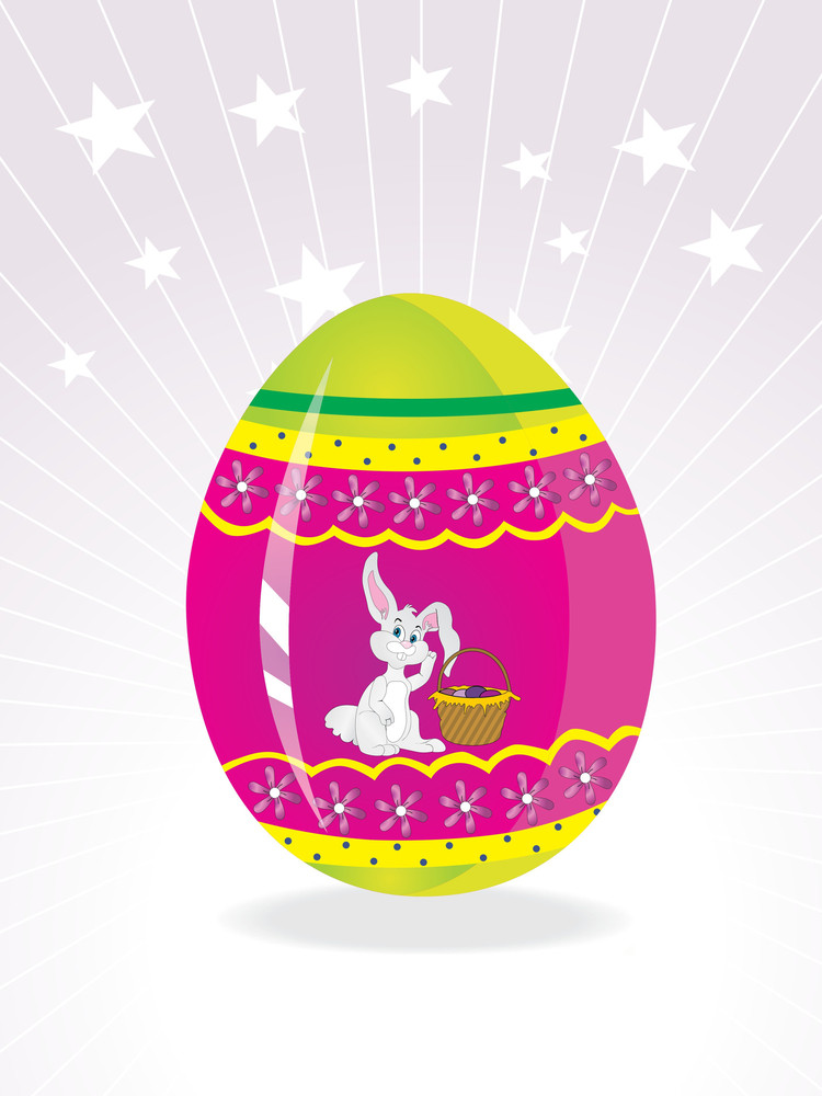 Easter Egg Background With Bunny Holding Basket