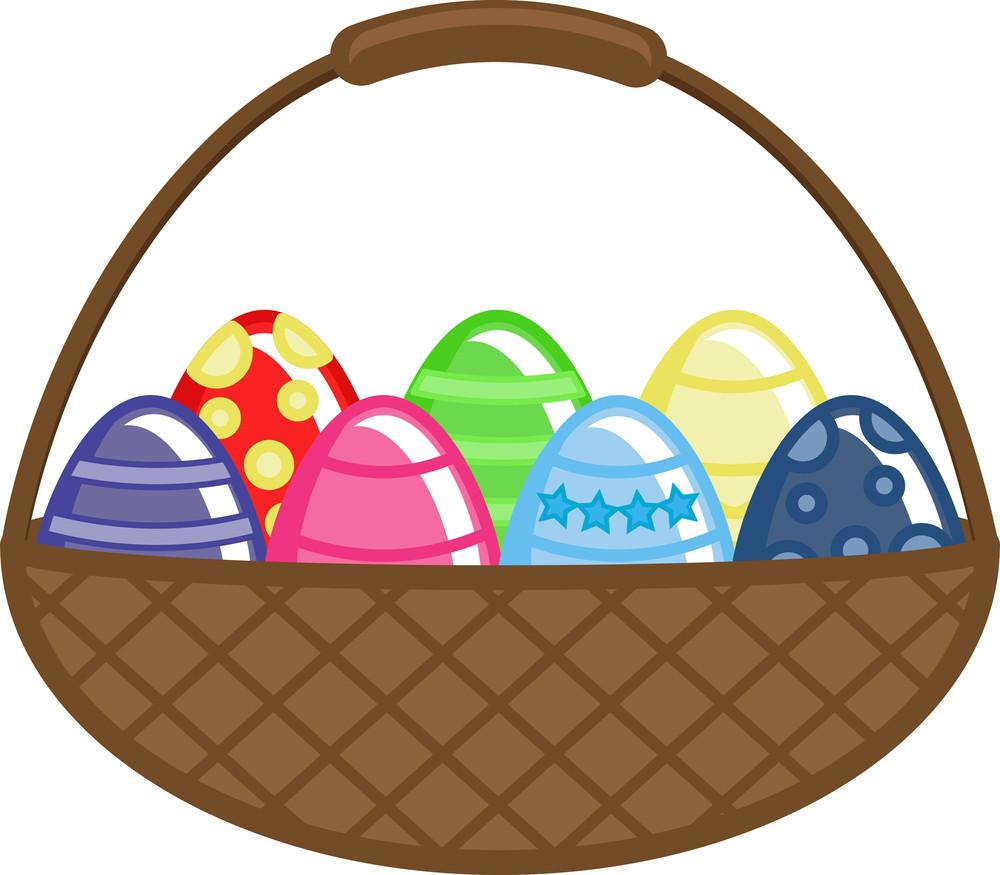 Easter Eggs Basket Vector Illustration