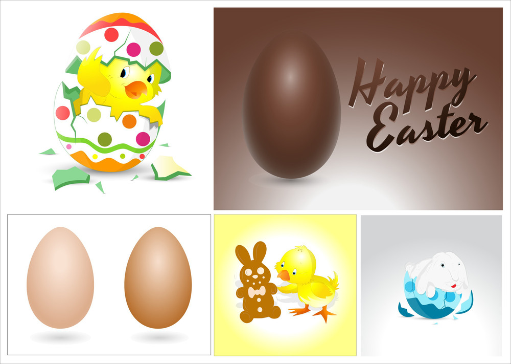 Easter Eggs Bunny And Chicken Vectors