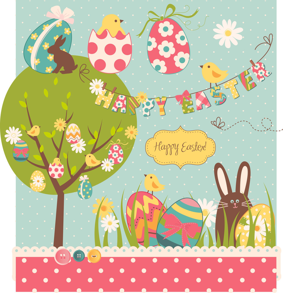 Easter Extravaganza. Big Easter Set With Cute Chocolate Rabbit