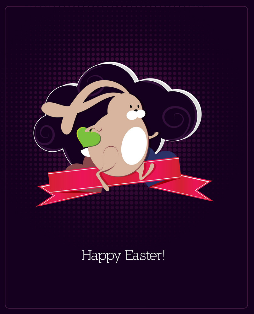 Easter Illustration With Bunny,ribbon And Cloud
