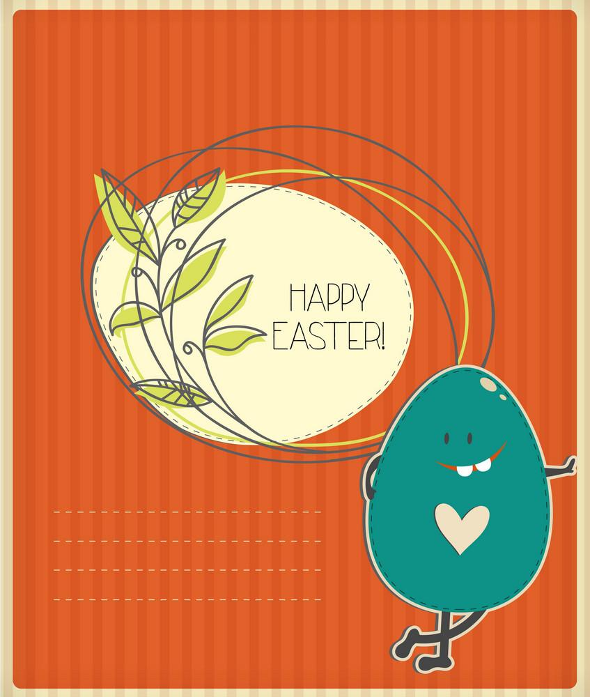 Easter Illustration With Easter Egg,floral Frame And Cloud