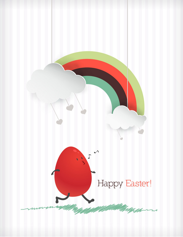 Easter Illustration With Easter Egg,rainbow And Cloud