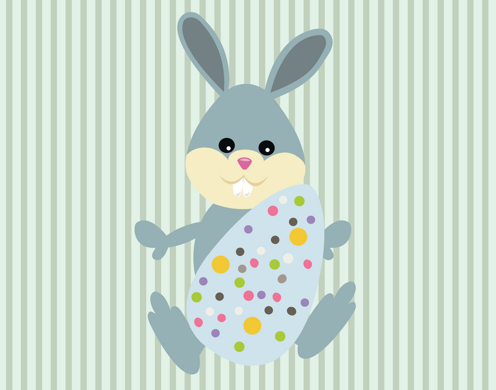 Easter Illustration With Egg And Beautiful Rabbit