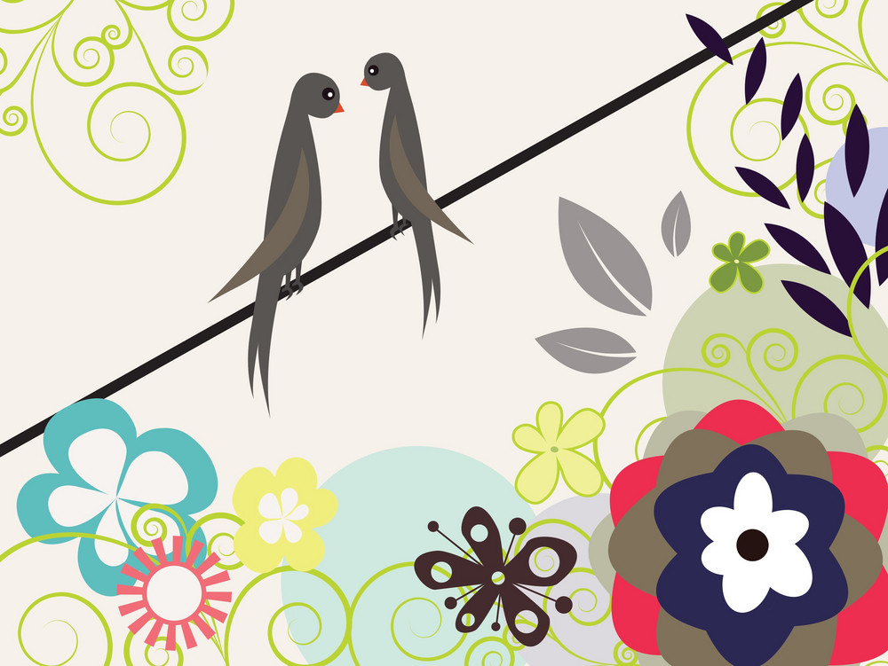 Easter Illustration With Floral And Beautiful Birds