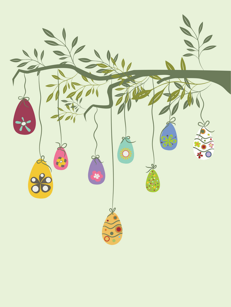 Easter Illustration With Floral And Beautiful Eggs
