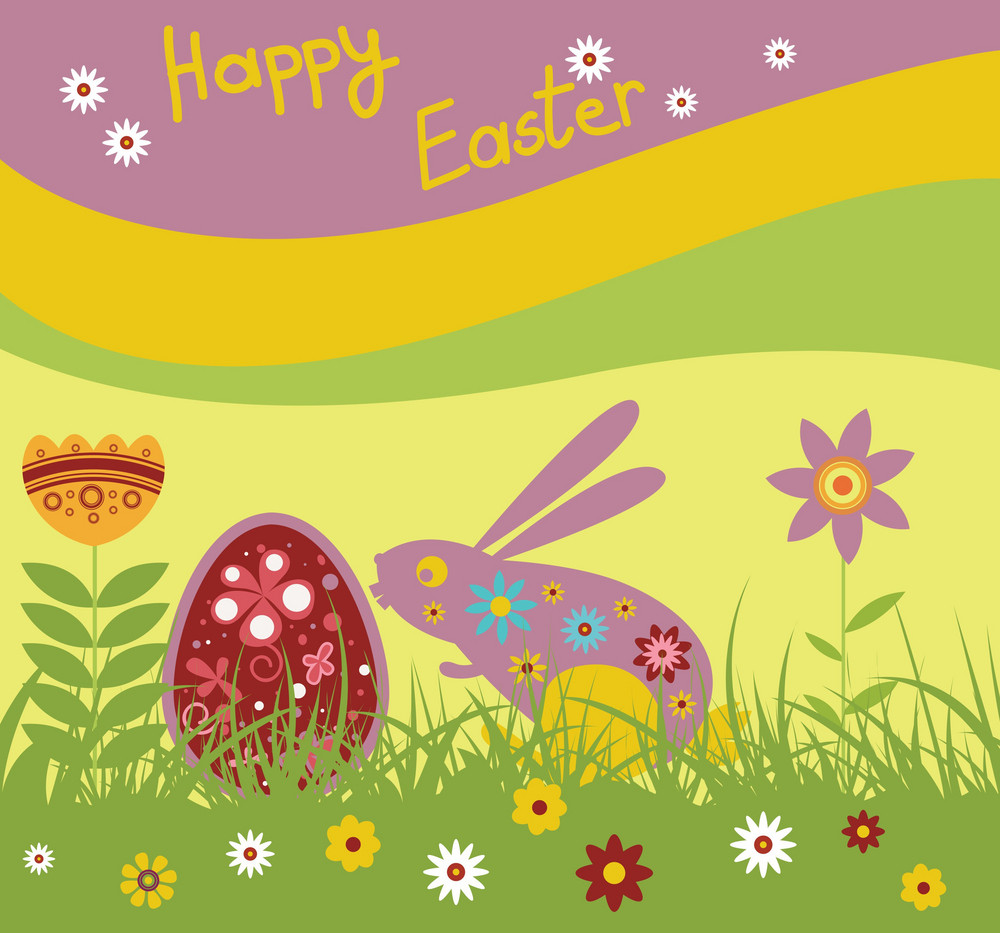 Easter Illustration With Floral, Egg And Rabbit