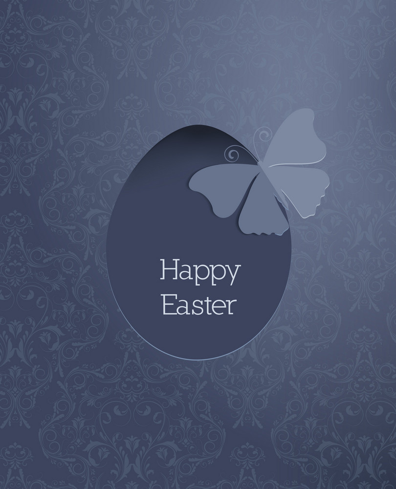 Easter Illustration With Flowal Background, Egg And Sticker Butterfly