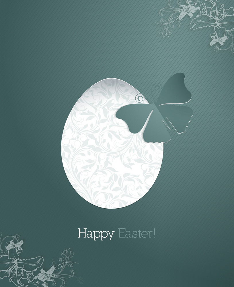 Easter Illustration With Flowal Background, Sticker Butterfly