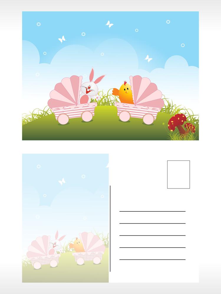 Easter Post Card Illustration