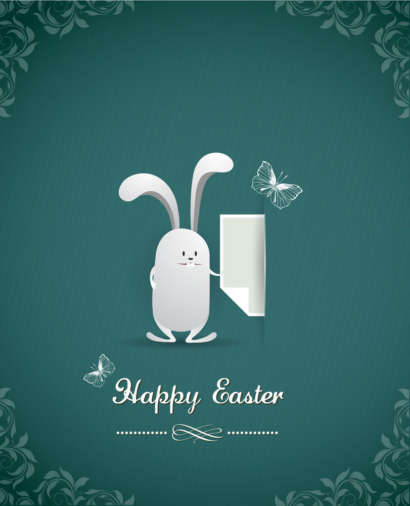Easter Vector Illustration With Easter Bunny