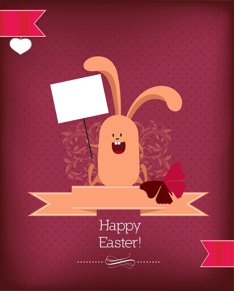 Easter Vector Illustration With Easter Bunny,floral Elements And Ribbon