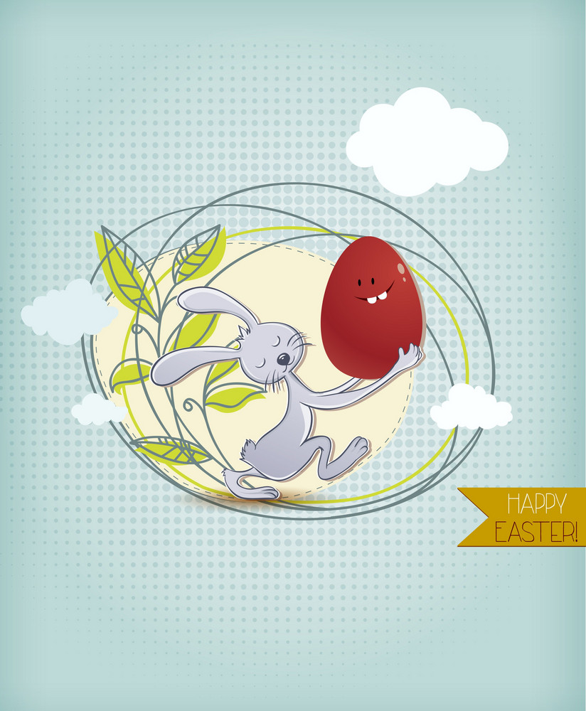 Easter Vector Illustration With Easter Egg,bunny  And Spring Flowers