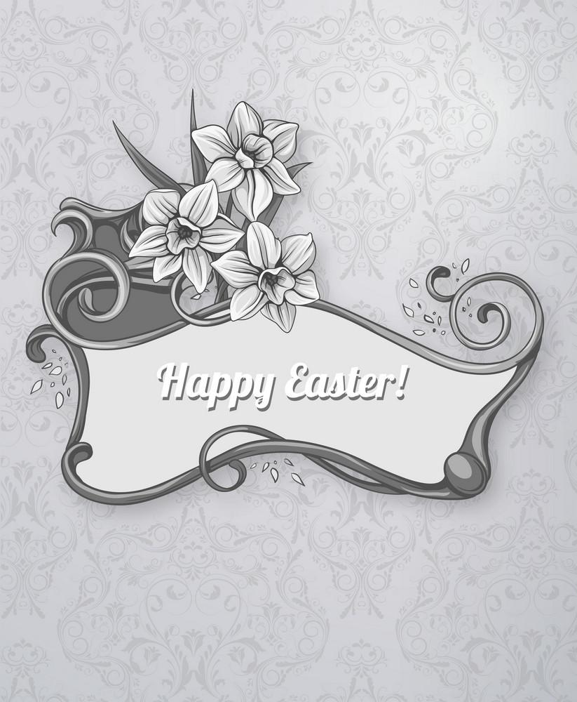 Easter Vector Illustration With Easter Frame