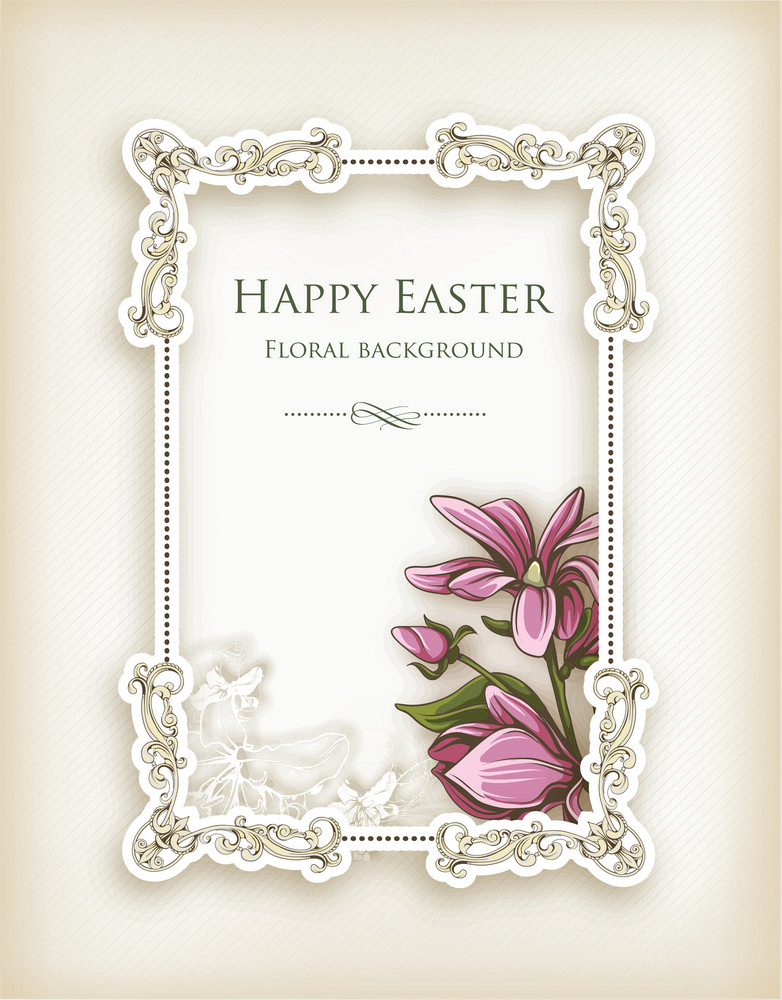 Easter Vector Illustration With Floral Frame