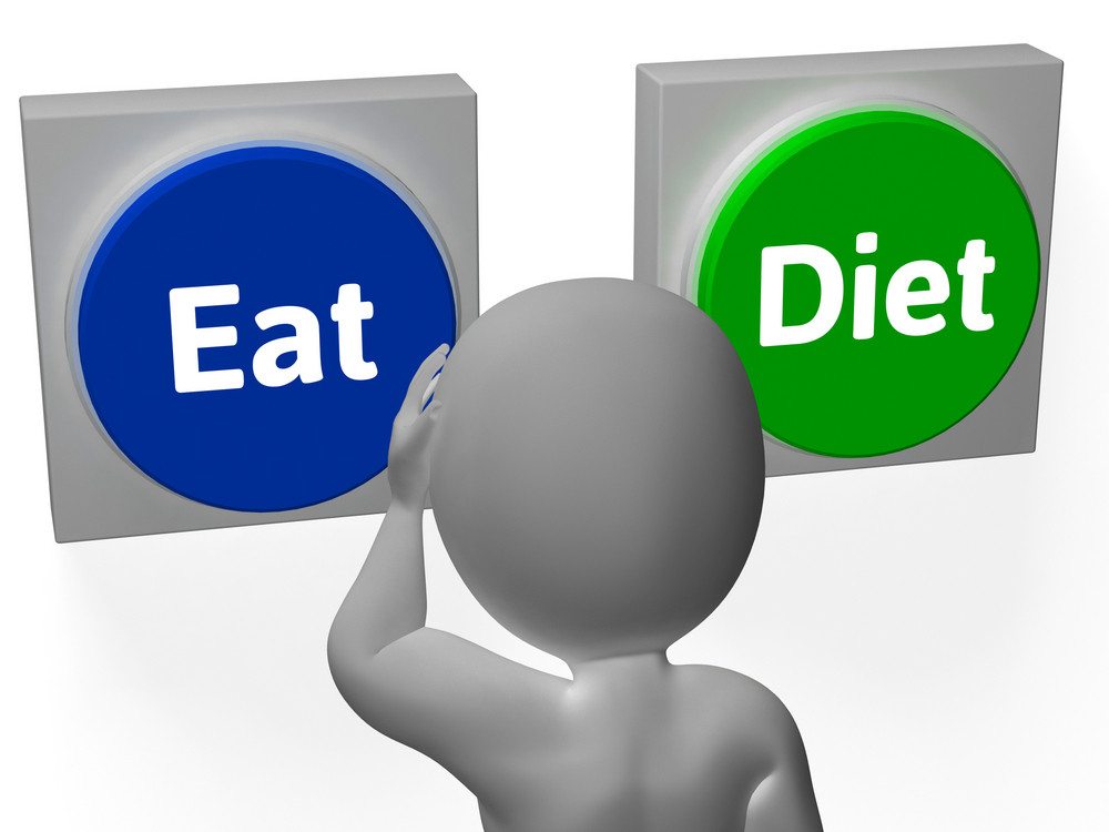 Eat Diet Buttons Show Losing Weight Or Eating
