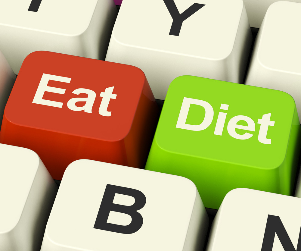 Eat Diet Keys Showing Fiber Exercise Fat And Calories Advice Online