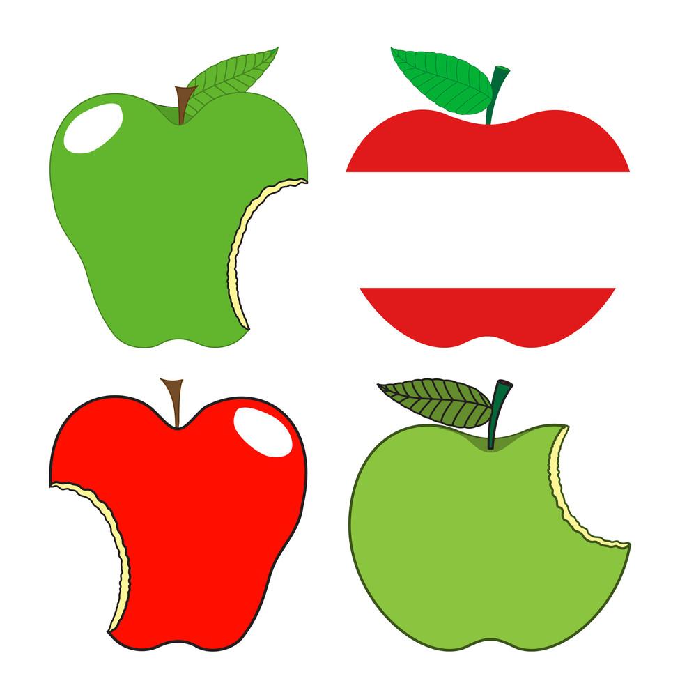 Eaten Apples Set Vector