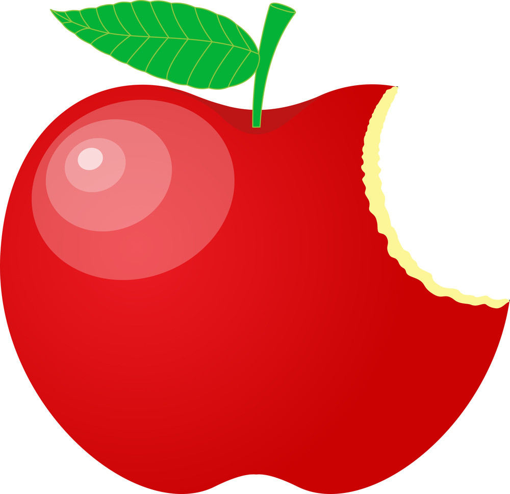 Eaten Red Apple Vector