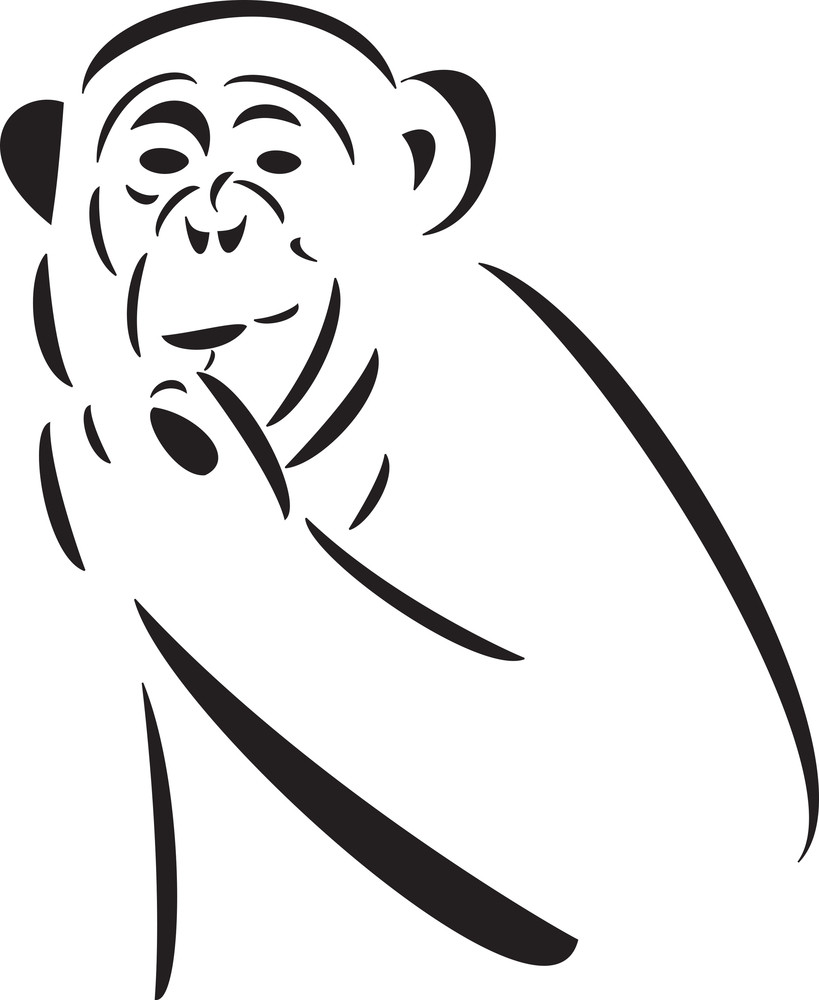 Eating Pose Of An Ape.