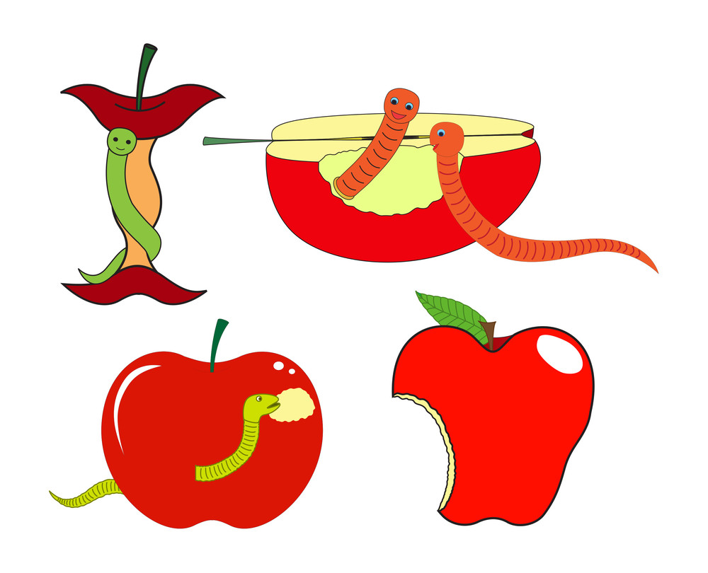 Eating Worm Apples Vector