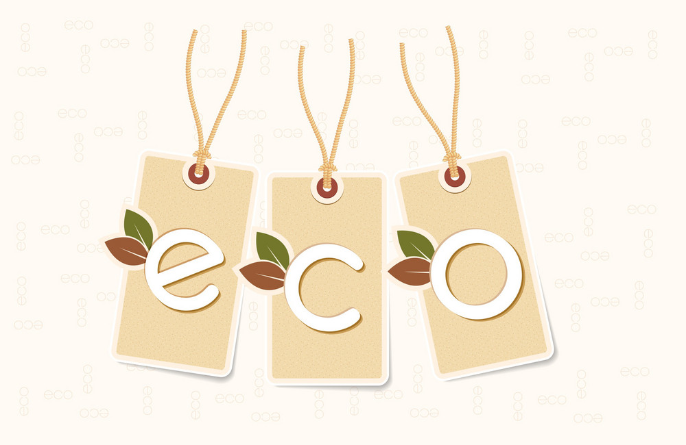 Eco Background With Shopping Tags Vector Illustration