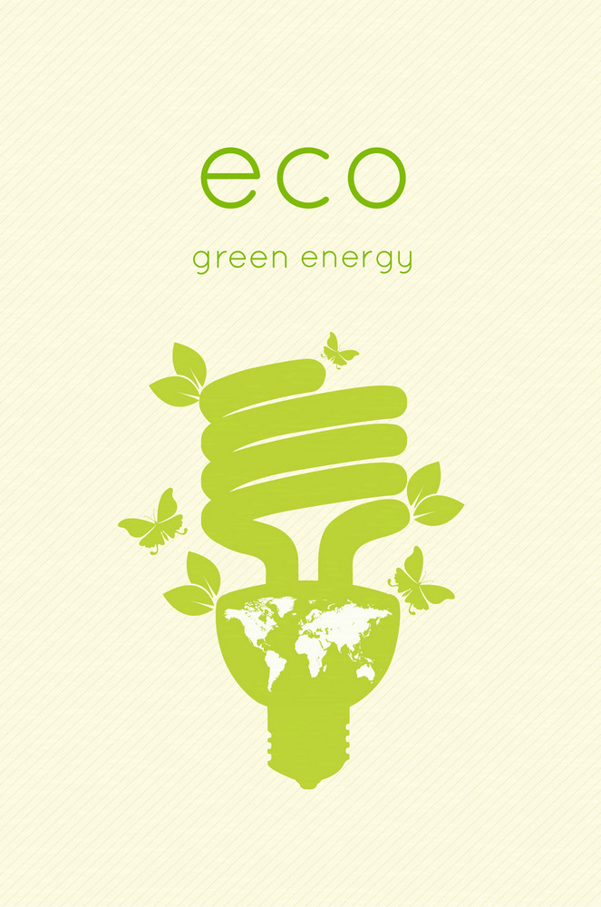 Eco Design With Light Bulb Vector Illustration